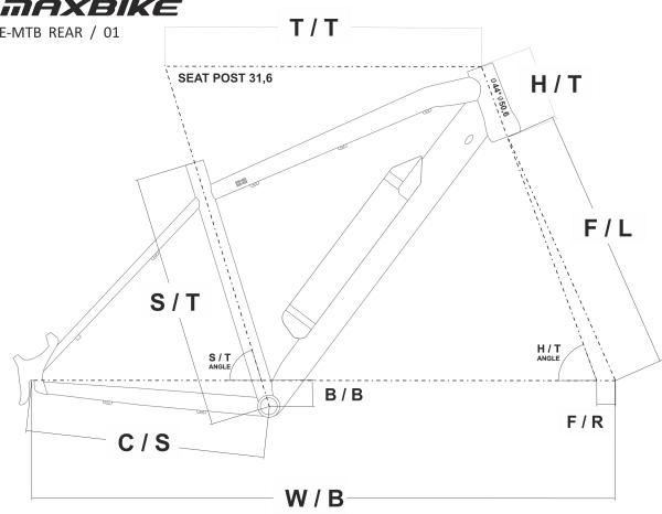E-MTB 29+27,5 Rear geo náčrt koty